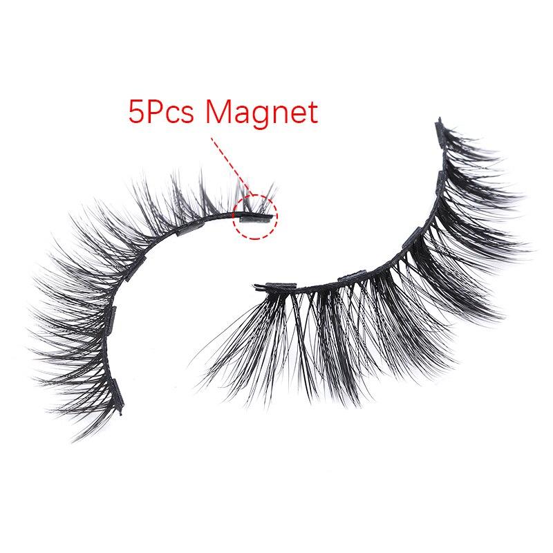 2Pairs Magnetic Eyelashes 3D False Mink Eyelashes Magnet Lashes Magnetic Liquid Eyeliner&Magnetic False Eyelashes & Tweezer Set 4