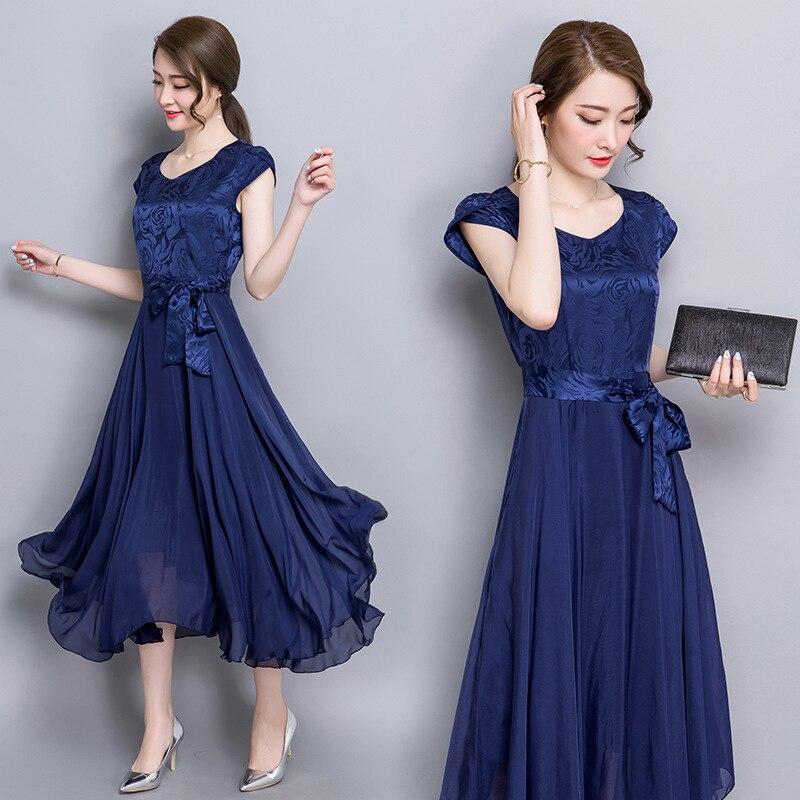 New Style Summer Elegant WOMEN'S Short Sleeve Shirt Silk Dress Slim Fit Pleated Skirt Large Size Middle-aged Women Dress