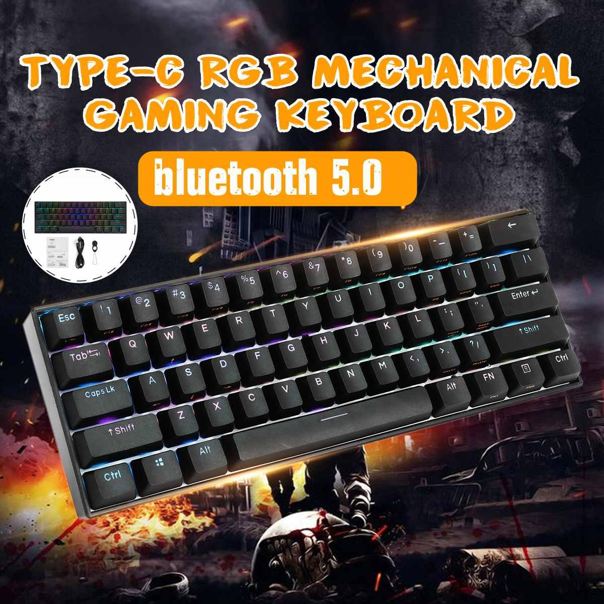 <font><b>60</b></font>% NKRO bluetooth 5.0 Type-C RGB PBT Double Shot <font><b>Keycap</b></font> 61 Keys Mechanical Gaming <font><b>Keyboard</b></font> Black image