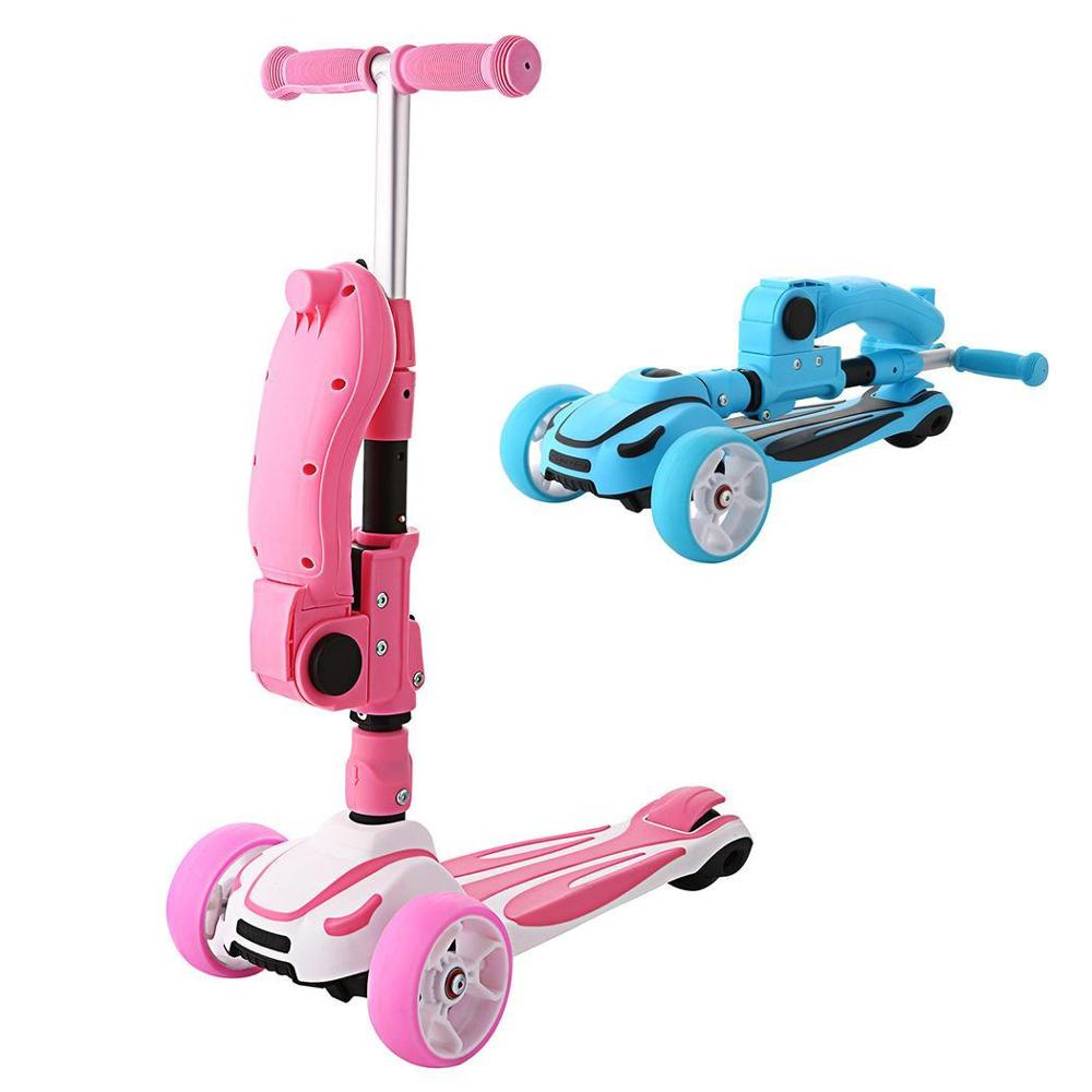 Foldable Kick Scooter with Adjustable Seat and 3 wheels for Kids
