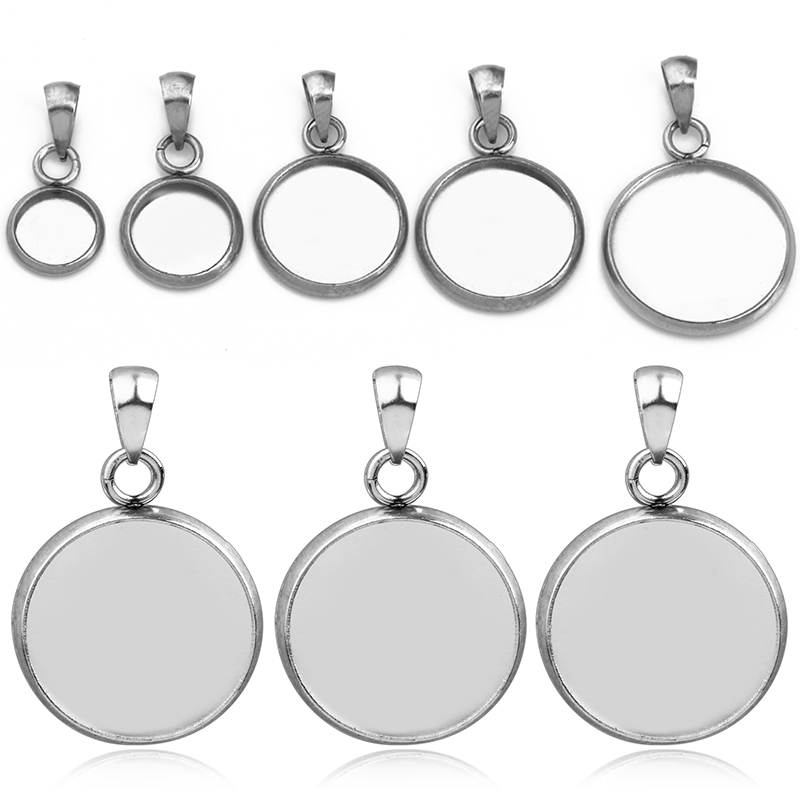 20pcs/lot Stainless Steel Pendant Blank Cabochon Base Setting Fit 6 8 10 12 14 Mm Jewelry Making  Man Woman Pendant Accessories