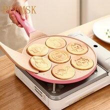 BEEMSK сковорода с семью отверстиями с животным рисунком сковорода антипригарное яйцо Блинная сковорода для стейка сковорода для приготовлен...