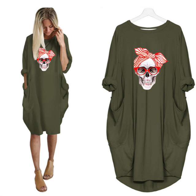 Plus Size 5XL Women's Dress Skull Print Long Sleeve O Collar Pocket Loose Casual Female Dresses Vintage Vestidos Robes Femme 5