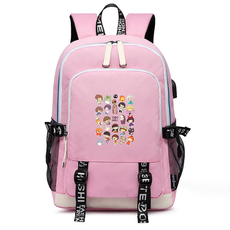 Spirited Away Kawaii Shcool Bags Totoro Pink Bookbag No Face Man Women Travel Backpack USB Port Laptop Bagpack Pink Back Pack