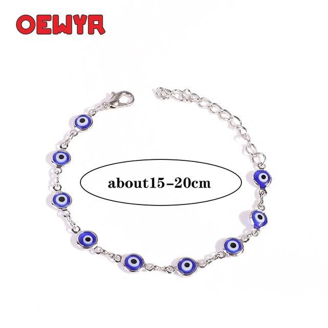 Argent turc yeux Bracelet pour femme Boho arc-en-ciel Bracelet à la main mauvais œil réglable Bracelet hommes amour cadeau en gros