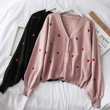 Mooirue Love Embroidery Women Kintting Cardigan V Neck Casual Vintage Streetwear Long Sleeve Koren Style Harajuku Sweater Coat