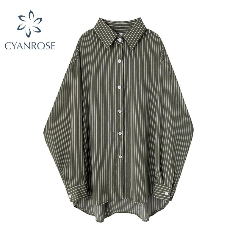 Женская Асимметричная блузка в полоску, зеленая блузка в стиле ретро с длинным рукавом, уличная одежда в Корейском стиле на пуговицах, лето ...
