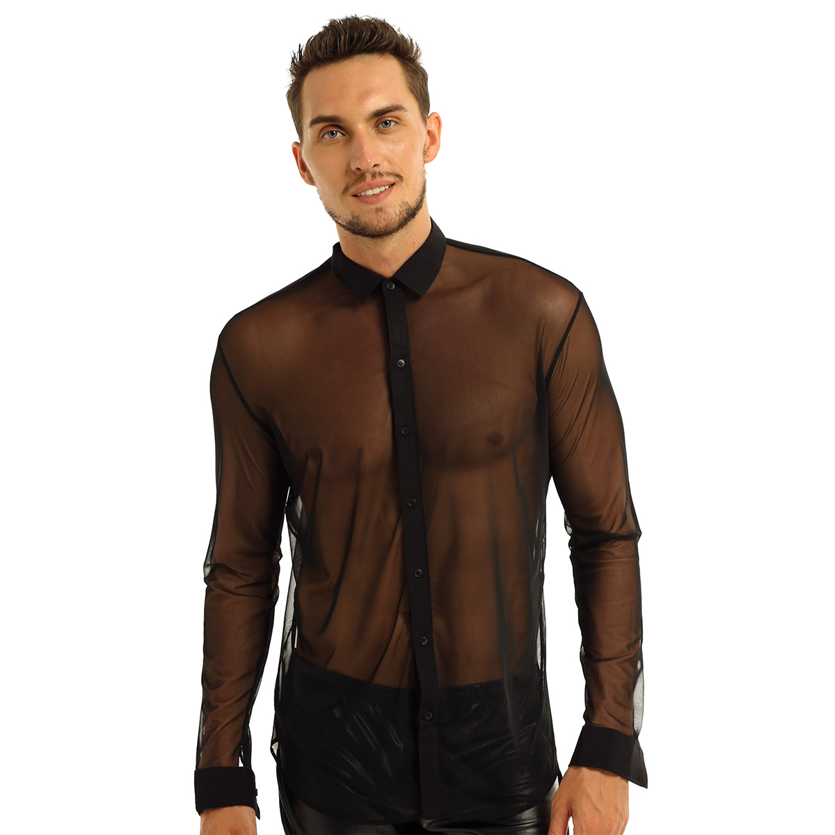 Image 3 - iiniim Mens Fashion See Through Mesh Long Sleeve Clubwear Turn down Collar Top Shirt for Club Evening Party WetLook Shirtsf shirtsfashion shirtsee through shirts -