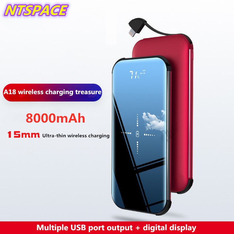 LED Digital Display Wireless Charger 8000mAh For Huawei/Xiaomi Portable Power <font><b>Bank</b></font> For <font><b>iPhone</b></font>/Samsung External <font><b>Battery</b></font> Charger image