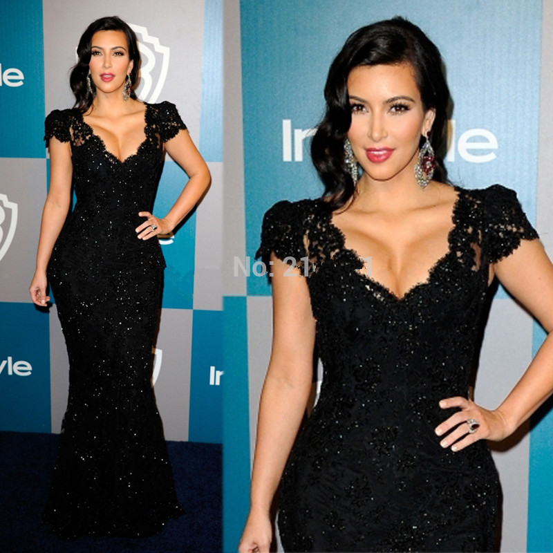 Big SaleσCelebrity Dresses Mermaid Lace Red Long Black Formal V-Neck Cap Sleeve Appliques Beaded