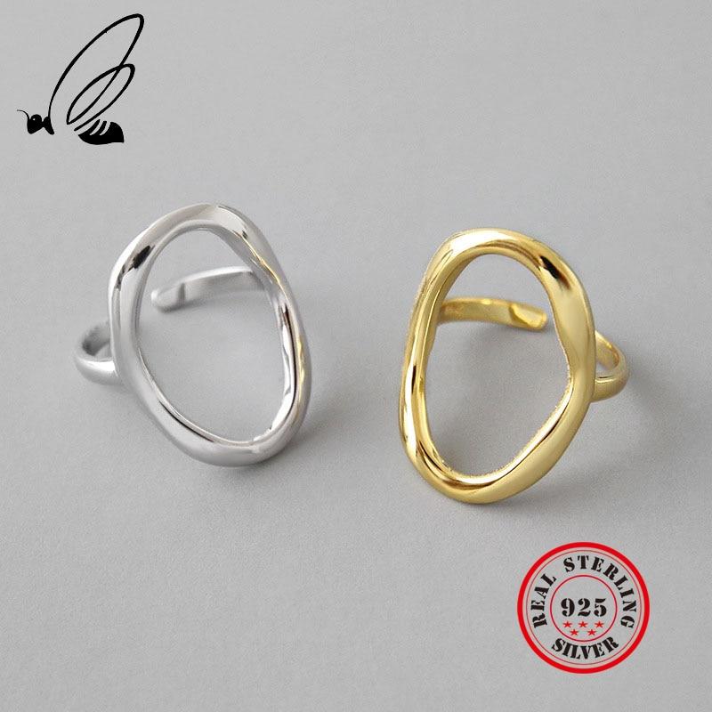 Irrégulière évider Ellipse 925 en argent sterling anneaux pour les femmes redimensionnable à la main bague femme argent 925 accesorios bijoux