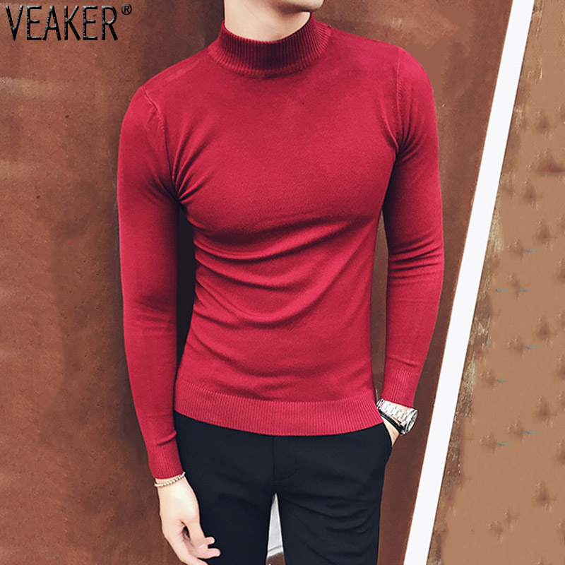 2019 New Men's Sexy Slim Fit Turtleneck Sweaters Pullover Male Long Sleeve Solid Color High Neck Knitted Sweater Pullovers Tops