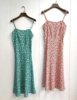100% Silk Women Flower Print Sleeveless Dress Spaghetti Strap Fresh Long Dress