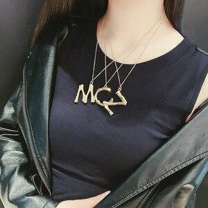Панковские Подвески в виде алфавита, Золотистое Ожерелье с буквами MCJZ, персонализированное ожерелье для шоппинга, вечеринки, танцев, подаро...