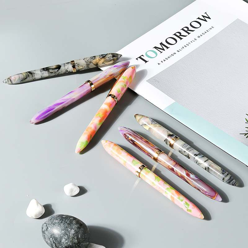 Moonman S1 Acrylic Resin Fountain Pen Metal Extra Fine / Fine Nib 0.38 / 0.5mm Writing Ink Pens Gold Trim With Gift Box Set