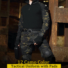 Tactical Uniform Shirt +Pants with Elbow Knee Pads Camouflage Military Army Suits Combat Airsoft Sniper Hunting Clothing tactical hunting camouflage clothes military uniform airsoft clothing army tactical shirt pants with knee pads