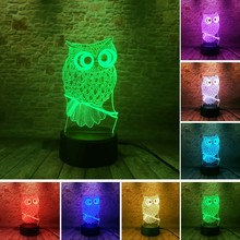 3D owl projection pattern USB touch colorful night light moon bear projection pattern USB touch Christmas tree Creative lamp