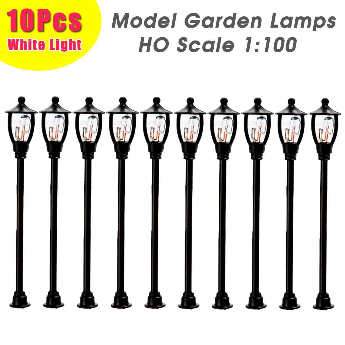 10pcs Model Garden Lamps HO Scale 1:100 Black Model Layout Single Head Garden Retro Street Lights Lamppost Landscape Light Model