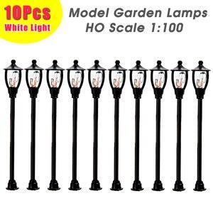 10pcs Model Garden Lamps HO Scale 1:100 Black Model Layout Single Head Garden Retro Street Lights Lamppost Landscape Light Model