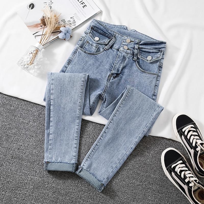 Blue Solid Skinny Jeans For Woman Casual High Waist Denim Pencil Pants Woman Korean Pocket High Elastic Jean Female