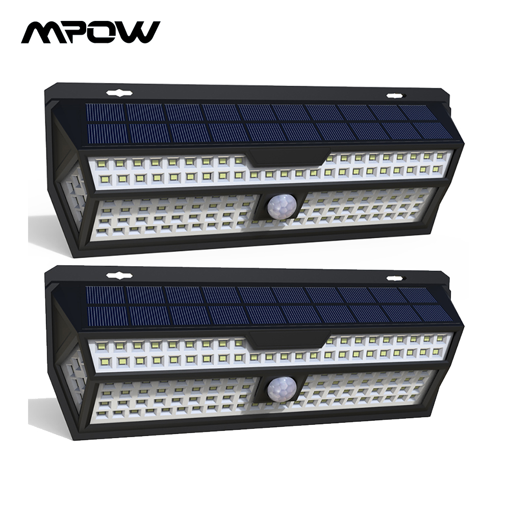 1/2 Pack Mpow 132 LED Solar Light PIR Motion Sensor Wall Lamp White Outdoor Garden Light IP65 Waterproof For Garden Decoration