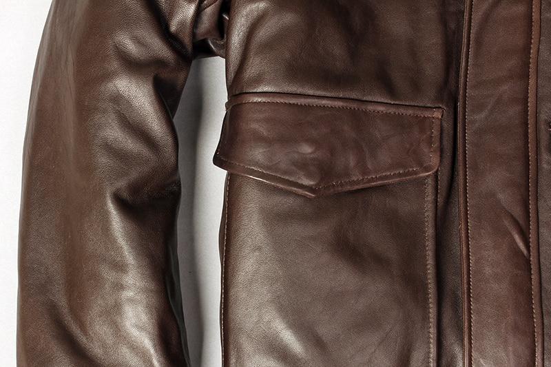 Hfe8984bdff9645be9d1fb49c0970a1c3D Military air force flight jacket fur collar genuine leather jacket men winter dark brown sheepskin coat pilot bomber jacket