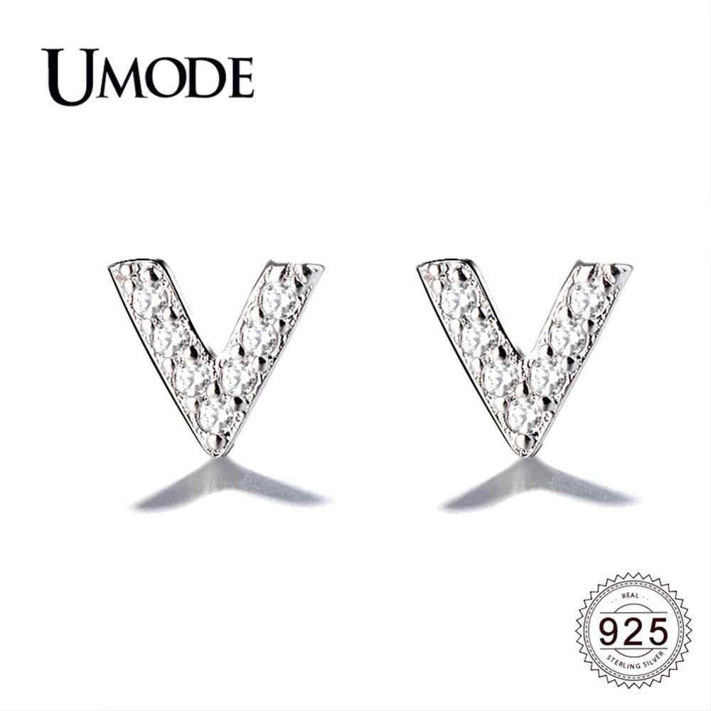 Umode Nieuwe 925 Sterling Zilveren Zircon V Vorm Letters Stud Oorbellen Voor Vrouwen Cz Party Sieraden Gift Brincos Bijoux ALE0600