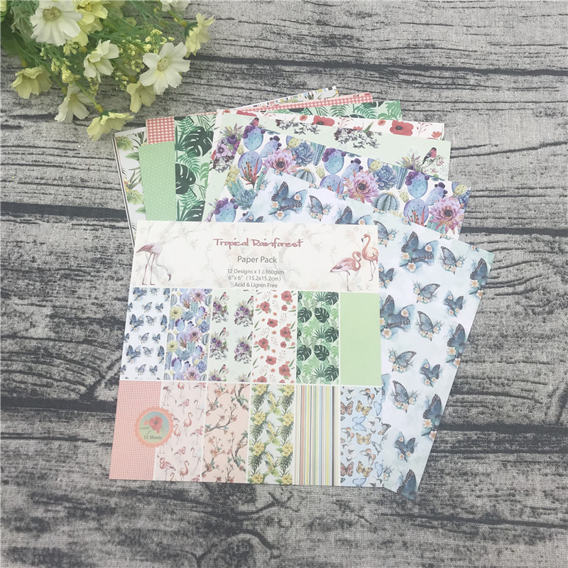 """12pc 6""""X6""""The Flamingo Flower Garden patterned paper Scrapbooking paper pack handmade craft paper craft Background pad 4"""