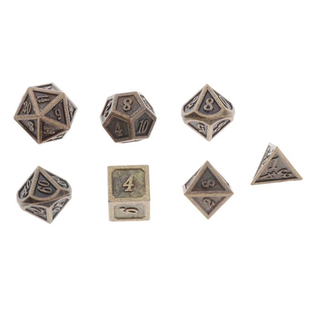 7pcs Dice Role Playing Games D4 D6 D8 D10 * 2 D12 D20 Polyhedral Noctilucent Metal