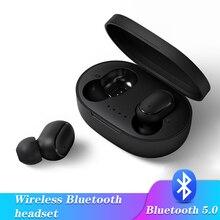 A6S 5.0 블루투스 무선 이어폰 TWS 이어 버드 헤드폰 ios 안드로이드 폰 태블릿 용 소음 차단 마이크 충전 박스