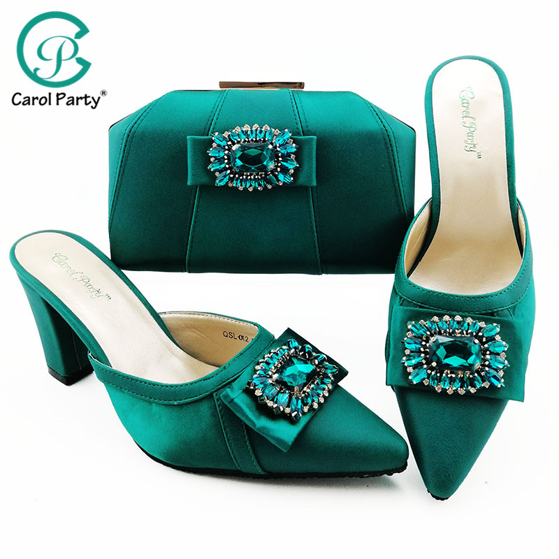 Teal  Color 2019 Summer New Design Italian Shoe And Bag Set Women Nigerian Party Shoes And Bag For Royal Party
