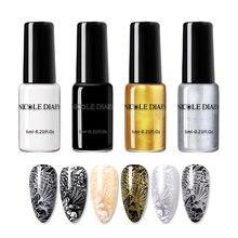 Лак NICOLE DIARY для стемпинга ногтей, золотистый, серебристый, черный, белый лак для ногтевого дизайна, Полировочный лак для ногтевого дизайна, у...