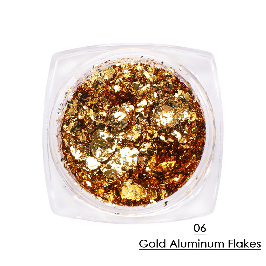 1 Box Gold Glitter Flakes Irregular Aluminum Foil Sequins For Nails Chrome Powder Winter Manicure Nail Art Decorations LY1858-1 35