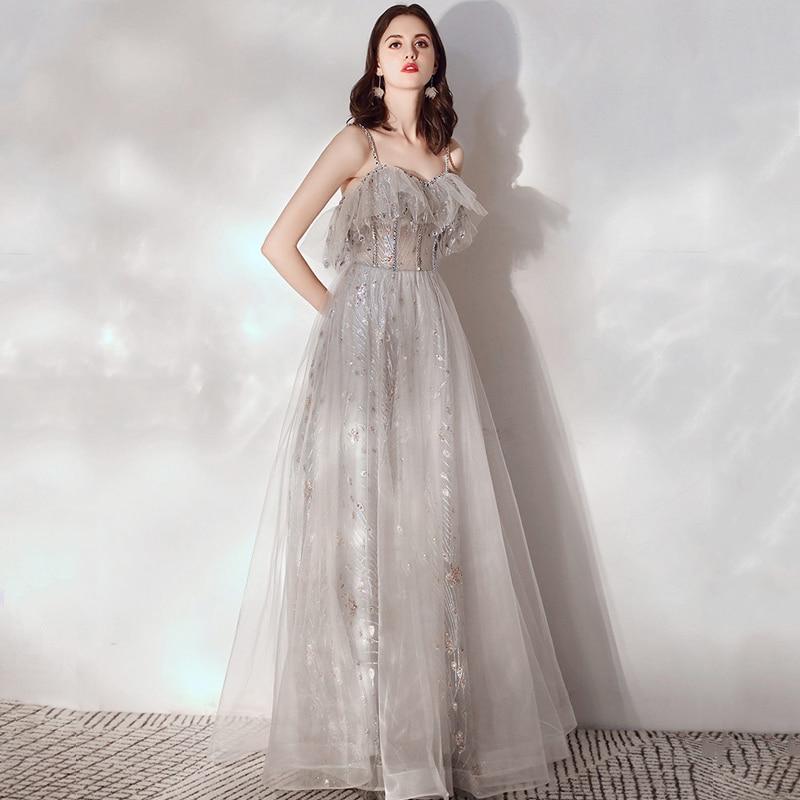 LAMYA 2020 Princess Elegant Evening Party Dress Spaghetti Straps Formal Dress Sexy Backless Robe De Soiree Evening Prom Gowns