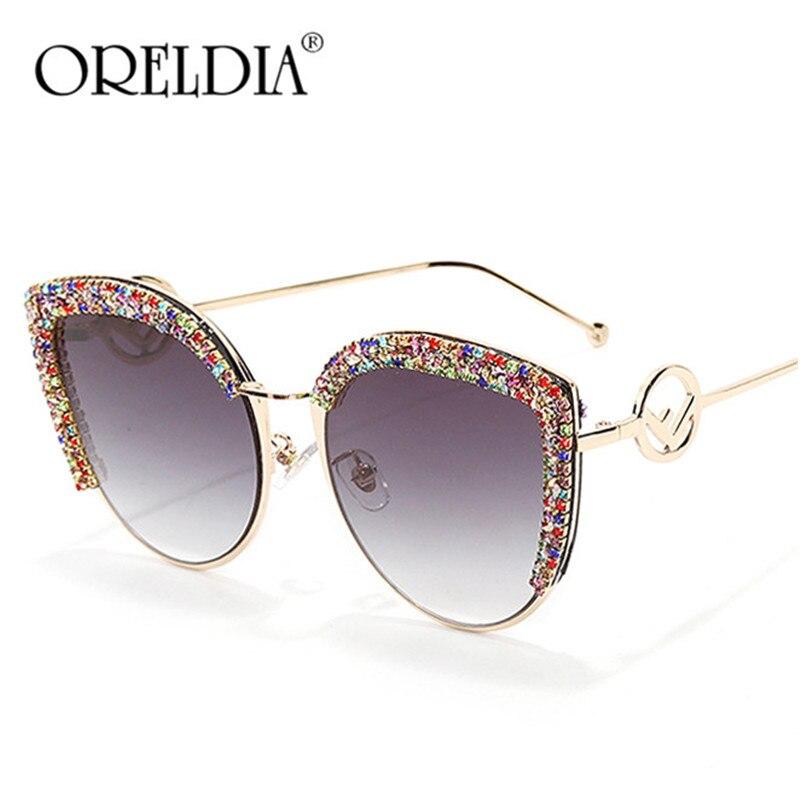 Роскошные Стразы, солнцезащитные очки «кошачий глаз» Для женщин 2020, винтажные брендовые дизайнерские солнцезащитные очки «кошачий глаз», б...