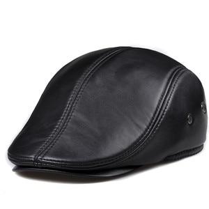 Image 2 - 新デザイン男性 100% 本革のファッション野球キャップ/キャスケットベレー帽/タクシー運転手の帽子/ゴルフ帽子フラット男性スライド高品質 HL041
