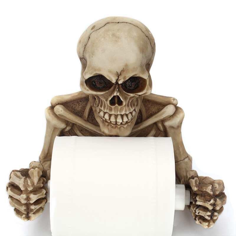 BEAU-Creative Skull Toilet Paper Holder Wall Mounted Toilet Paper Storage Box Bathroom Storage Box