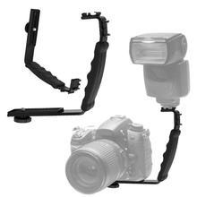 Soporte de cámara Dual ángulo 2 Soporte de zapata de Flash DV bandeja soporte de cámara SLR bandeja Stent zapata para videocámaras DSLR
