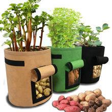 Bolsas de cultivo de plantas de 3 tamaños, maceta de patatas para el hogar, invernadero, bolsas para cultivo de verduras, humectante, bolsa de almacenamiento Vertical para jardinería