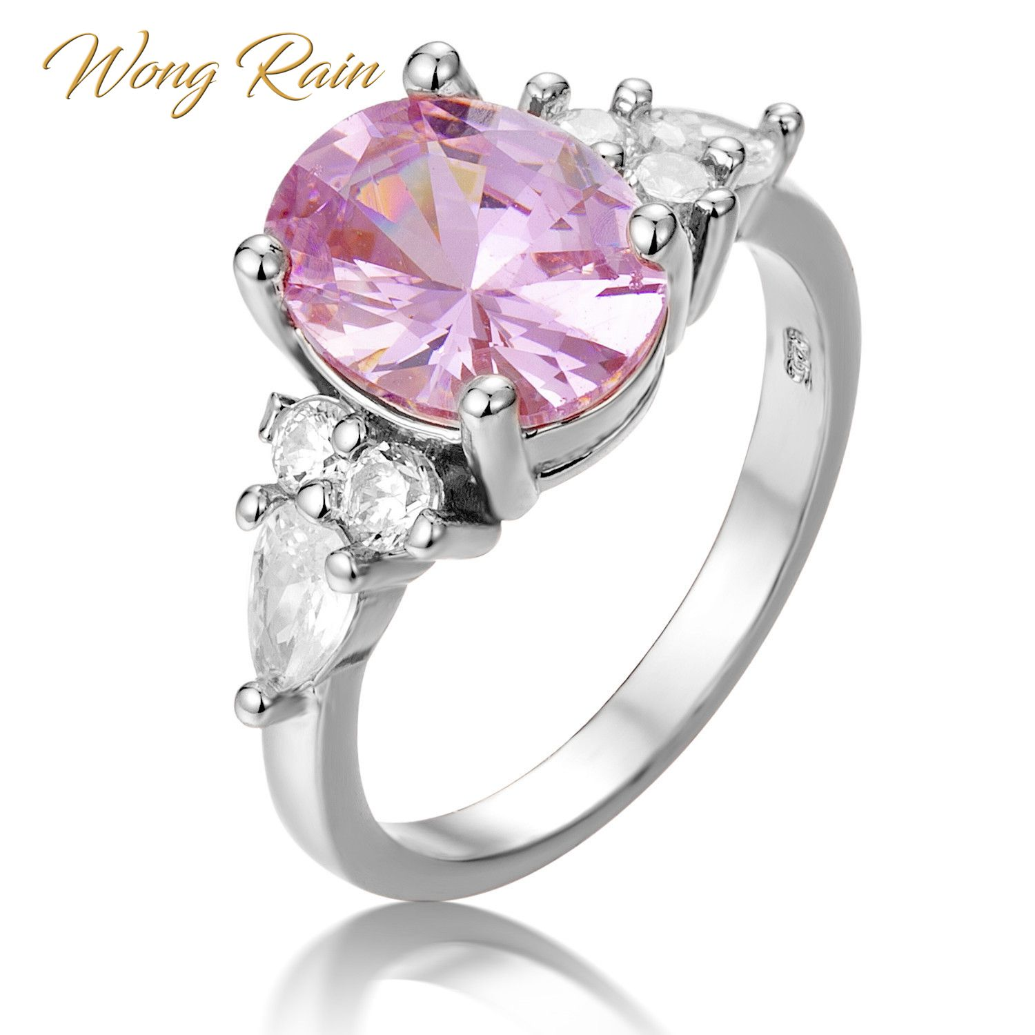 Wong Rain Vintage 100% 925 Sterling Silver Pink Sapphire Gemstone Wedding Engagement Cocktail Party Ring Fine Jewelry Wholesale
