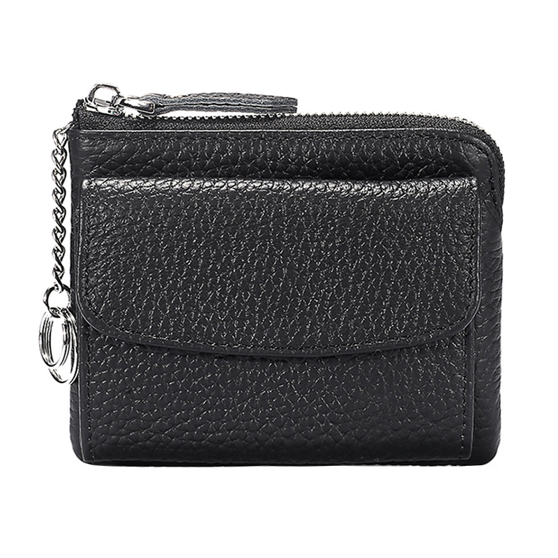 Genuine Leather Small Clutch Purse Zipper Card Holder Wallet Coin Storage Bag With Key Ring Purse For Travel Female Clutch Bag