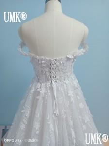 Image 2 - UMK 2020 Vestido De Noiva 3D Lace Wedding Dress Sexy Off the Shoulder See Through Tulle A Line Wedding Dresses