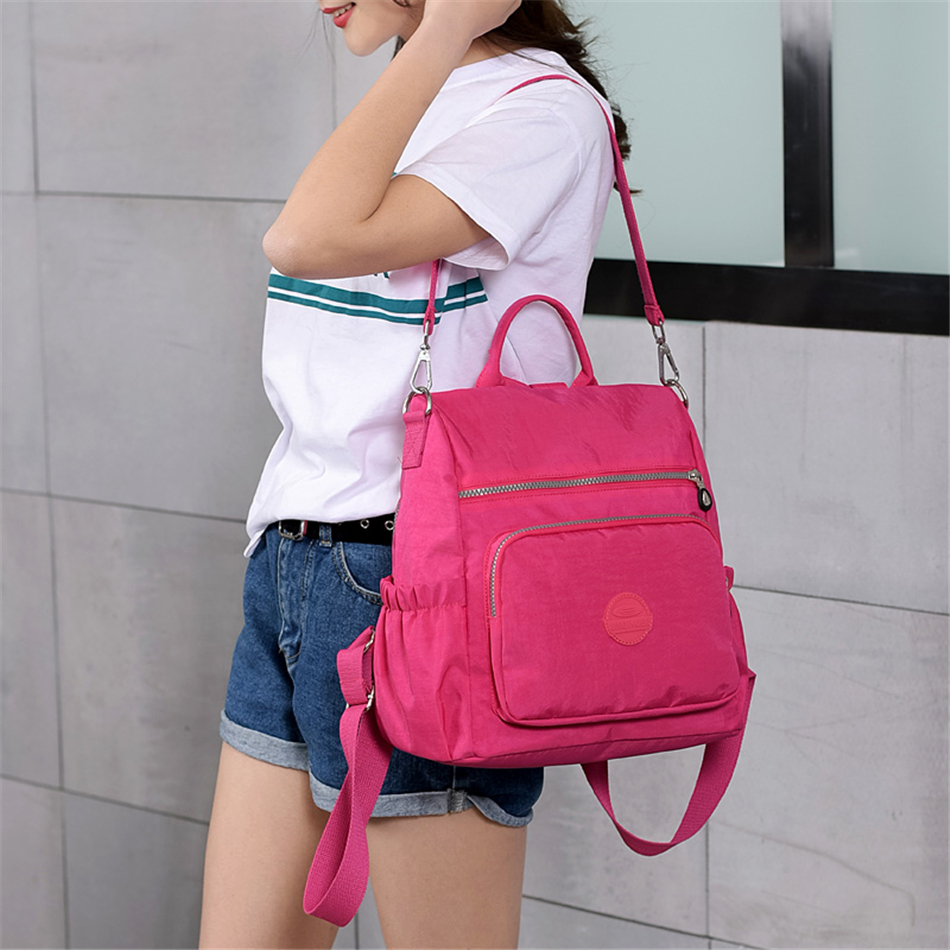 Image 2 - 3 in 1 Women Backpack Solid Fashion School Bags For Girls Nylon Waterproof College Students Backpack Shoulder Travel Causal BagBackpacks   -