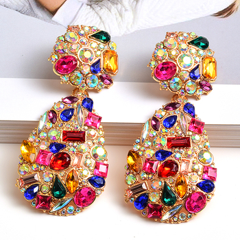Wholeslae ZA New Colorful Crystals Drop Earrings Fine Jewelry Accessories For Women Fashion Trend Rhinestone Pendientes Bijoux za new bird shaped colorful rhinestone metal long dangle drop earrings fine crystals chain tassels jewelry accessories for women