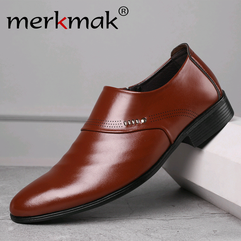 Merkmak 2019 New Business Men Oxfords Shoes Set Of Feet Dress Shoes Male Office Wedding Pointed Men's Leather Shoes