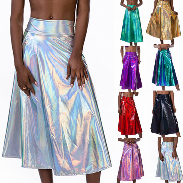 Women Mid Calf Skirts Shiny Holographic Pu Laser A Line Wet Look Loose Skirts With Pocket Summer Party Club Lady Chic Skirt #Z4 1