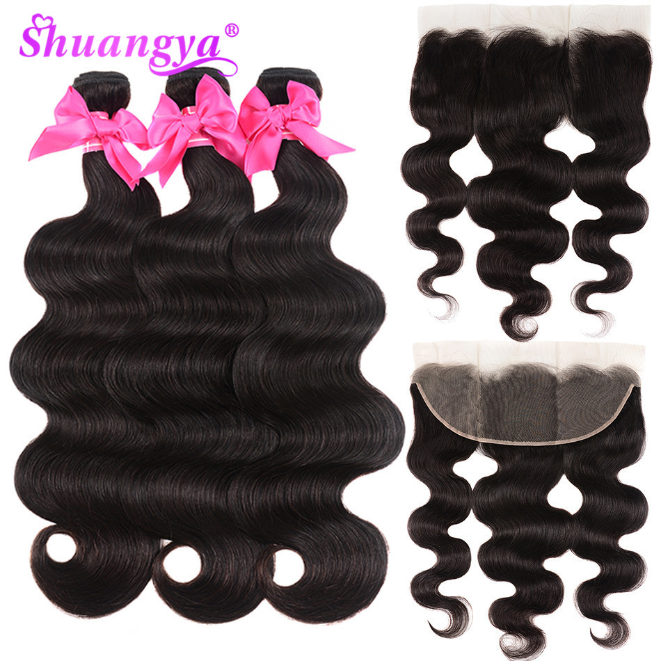 Shuangya Remy Hair 13*4 Lace Frontal With Bundles Brazilian Body Wave Human Hair Bundles With Closure 3/4 Bundles With Frontal-in 3/4 Bundles with Closure from Hair Extensions & Wigs    1