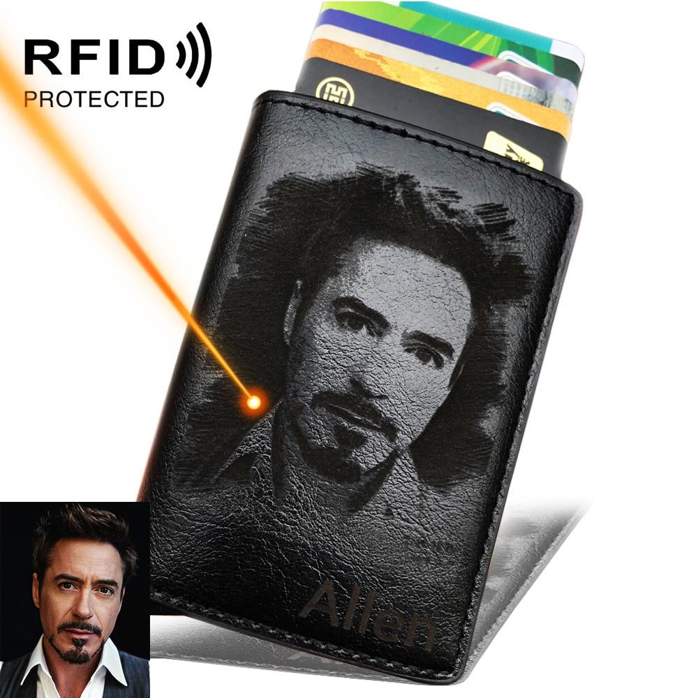 Men's Credit Card Holder Photo Engraving Anti RFID Blocking PU Small Wallet ID Card Case Metal Protection Purse Portomonee