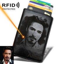 Mens Credit Card Holder Photo Engraving Anti RFID Blocking PU Small Wallet ID Card Case Metal Protection Purse Portomonee