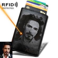 Porte carte de crédit pour hommes, gravure Photo, Anti RFID, blocage, PU, petit portefeuille, Protection du métal étui pour carte didentité